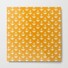 Anchors (White & Orange Pattern) Metal Print