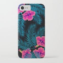 Palm Leaves Hibiscus Flowers Dark Exotica iPhone Case