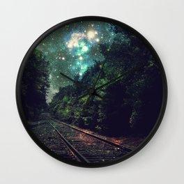 Train Tracks Next Stop Anywhere Teal Green Wall Clock