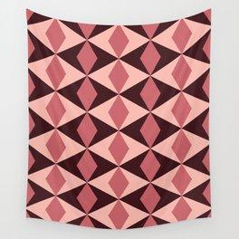 Rosy Diamonds Wall Tapestry