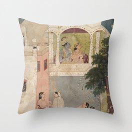 Radha and Krishna Seated on a Balcony - 18th Century Classical Hindu Art Throw Pillow