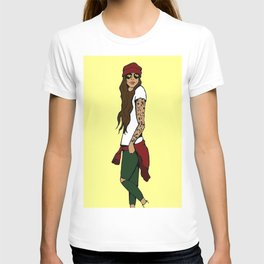 Hipster Chick-Yellow T-shirt