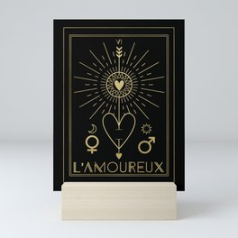 L'Amoureux or The Lovers Tarot Gold Mini Art Print