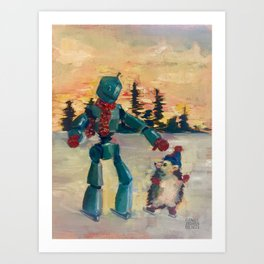 Robot iceskating with hedgehog Art Print