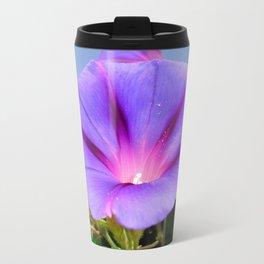 Purple Coloured Morning Glory Garden Background Travel Mug