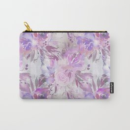 Pink lilac lavender watercolor hand painted floral Carry-All Pouch