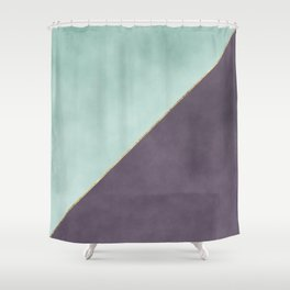 Modern abstract geometrical mint dark lavender watercolor Shower Curtain