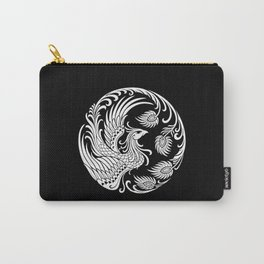 Traditional White and Black Chinese Phoenix Circle Carry-All Pouch