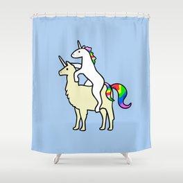 Unicorn Riding Llamacorn Shower Curtain