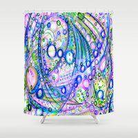 pisces Shower Curtains featuring Pisces by HillaryFrye
