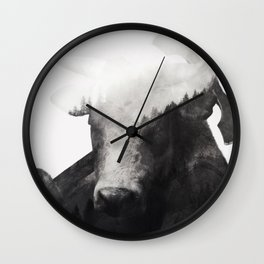 Minotaur (Black & White) Wall Clock
