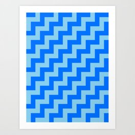 Baby Blue and Brandeis Blue Steps RTL Art Print