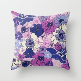 Red Violet and Navy Anemones Throw Pillow