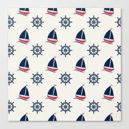 Blue Sea Ship Pattern Canvas Print