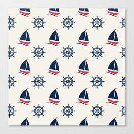 Blue Sea Ship Pattern Canvas Print