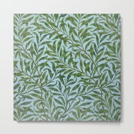William Morris Willow Bough and Leaves Textile Floral Pattern Metal Print