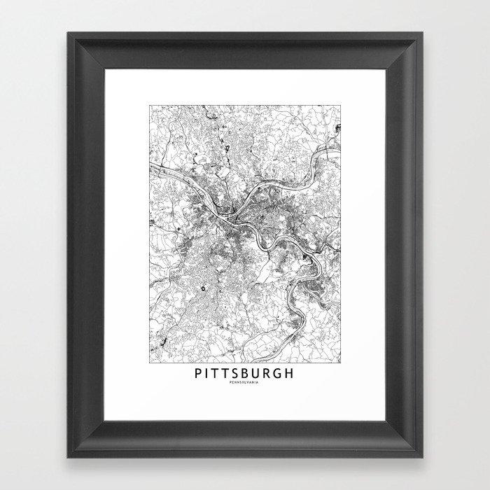 Pittsburgh White Map Gerahmter Kunstdruck