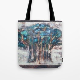 Faded Semi-Abstract Trees Tote Bag