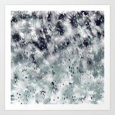 Modern abstract grey black tie dye geometric paint pattern Art Print