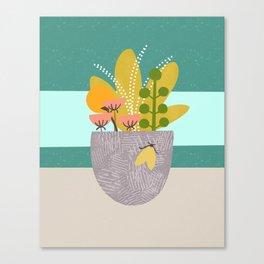 Succulent Garden with Moth Canvas Print