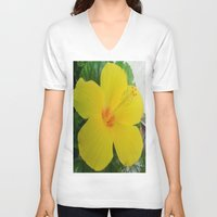 hibiscus V-neck T-shirts featuring Hibiscus  by GT6673
