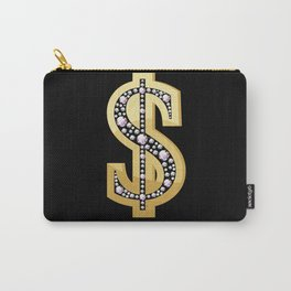 Golden dollar symbol decorated with diamonds Carry-All Pouch