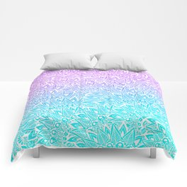 White mandala henna pattern illustration Mermaid purple turquoise watercolor floral pattern Comforters