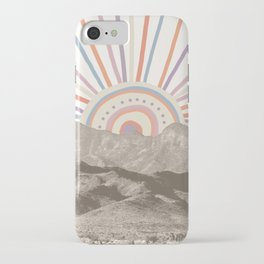 Bohemian Tribal Sun UP / Abstract Vintage Mountain Happy Summer Vibes Retro Colorful Pastel Artwork iPhone Case