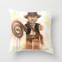 indiana jones Throw Pillows featuring Indiana Jones Lego by Toys 'R' Art