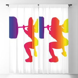 Weight lifting woman in rainbow colors Blackout Curtain