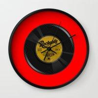 rockabilly Wall Clocks featuring Rockabilly Vinyl by Nano Barbero