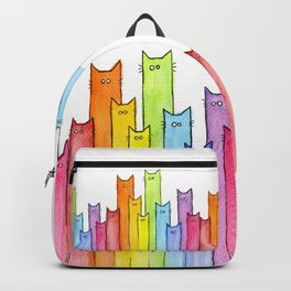 Cat Rainbow Watercolor Whimsical Animals Cats Pattern Backpack