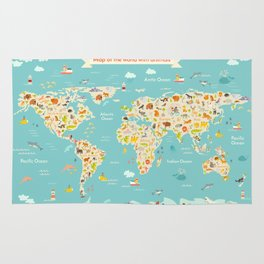 Map animal for kid. Continent of world Rug