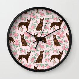 Kelpie florals dog breed cute gifts pattern dog lover pet portraits pet friendly designs Wall Clock