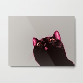 Curious cat, Black cat, Pop Art cat. Metal Print