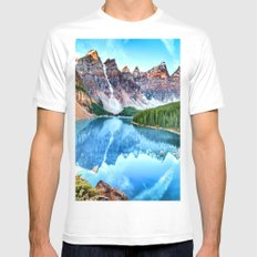 Twin Landscape White MEDIUM Mens Fitted Tee