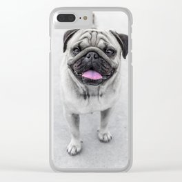 Pug tounge Clear iPhone Case
