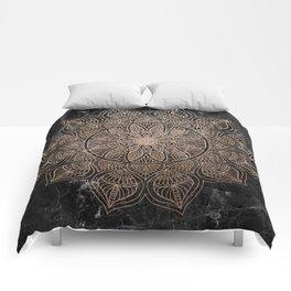 Mandala - rose gold and black marble 4 Comforters