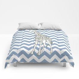 Rock Blue Safari Chevron with Pop Art Giraffe Comforters