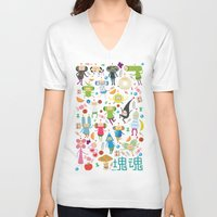katamari V-neck T-shirts featuring KATAMARI DAMACY by Erin Lowe