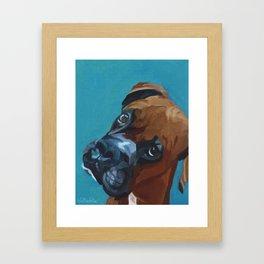 Leo the Boxer Dog Portrait Framed Art Print