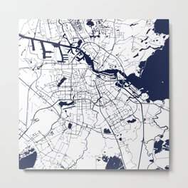 Amsterdam White on Navy Street Map Metal Print