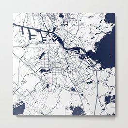 Amsterdam White on Navy Street Map Metal Print