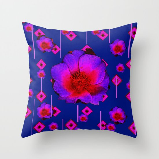 Modern Purple Throw Pillow : CONTEMPORARY RED-PURPLE BLUE FLORAL ART Throw Pillow by SharlesArt Society6