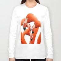 flamingos Long Sleeve T-shirts featuring Flamingos by Regan's World