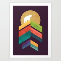 Lingering mountain with golden moon Art Print