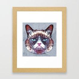 abstract grouchy cat Framed Art Print
