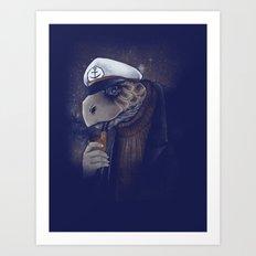 Turtlenecked Sea Captain Art Print