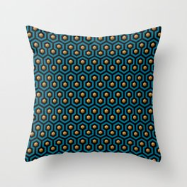 Blue & Gold horror hotel carpet pattern Throw Pillow