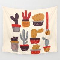 alisa burke Wall Tapestries featuring Kaktus by Annisa Tiara Utami